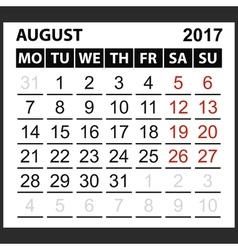 calendar sheet August 2017 vector image vector image