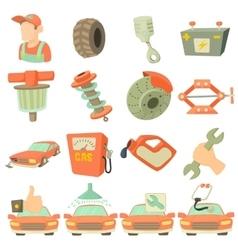 Car repair items icons set cartoon style vector