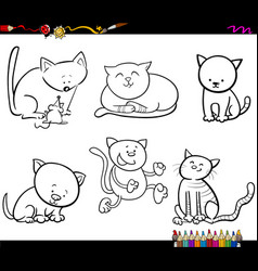 Cat characters coloring book vector