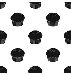 Chocolate cupcake icon in black style isolated on vector