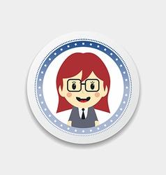 Cute girl cartoon character label vector
