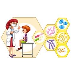 Doctor and patient with virus vector image vector image