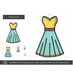 Dress line icon vector