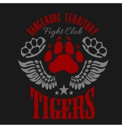 Fighting club emblem - tiger footprint and wings vector image vector image