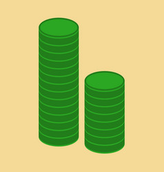 Flat icon on stylish background stacks of coins vector