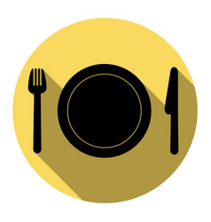 Fork plate and knife flat black icon vector