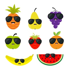 Fruit and berry set sunglasses eyeglasses cartoon vector