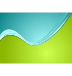 Green and cyan contrast gradient color wavy design vector
