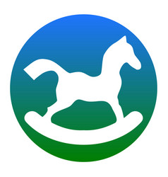 Horse toy sign white icon in bluish vector