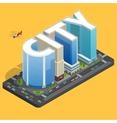 Modern high quality city building isomeric flat vector