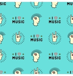 Music seamless pattern hand rock n roll sign punk vector