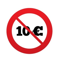No 10 Euro sign icon EUR currency symbol vector image vector image