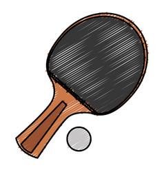 ping pong racket and ball vector image