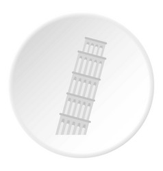 Pisa tower icon circle vector