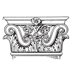 Roman-corinthian pilaster capital sides vintage vector