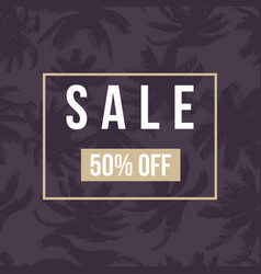 Sale banner poster with palm leaves vector