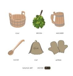 Sauna set Sauna accessories vector image