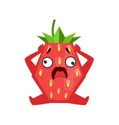 Scared strawberry sitting and holding its head vector