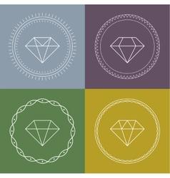 Set gemstones round banner vector