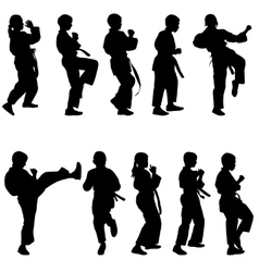Set of black silhouettes of karate Sport vector image