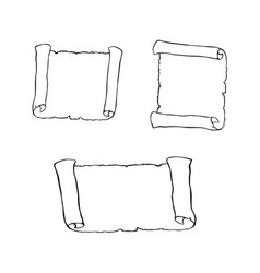 Set of sketches of ancient scroll isolated on vector