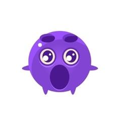 Shocked round character emoji vector