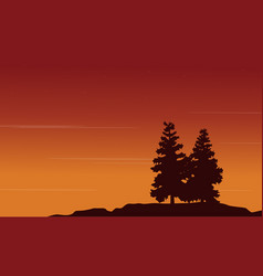 Silhouette of tree style landscape vector