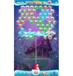Sweet world mobile GUI game window bubble shooter vector image