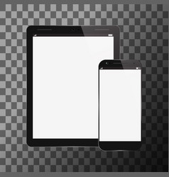 Tablet pc with mobile smartphone vector