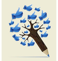Thumb up OK concept pencil tree vector image