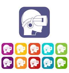 Vr headset icons set flat vector