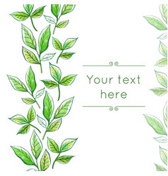 Watercolor floral border vector