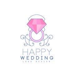 Wedding line logo design with diamond ring and vector