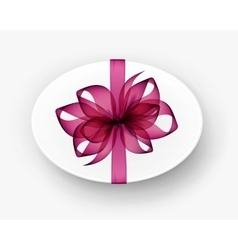 White round oval gift box with pink bow and ribbon vector