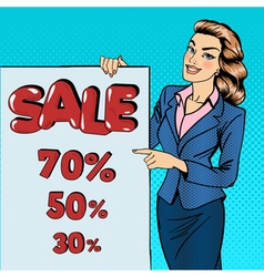Woman gesturing on sale poster sale banner pop art vector
