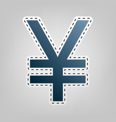 Yen sign blue icon with outline for vector