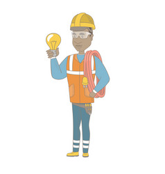 Young african electrician holding a lightbulb vector
