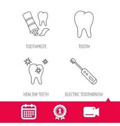 Healthy teeth tooth and toothpaste icons vector