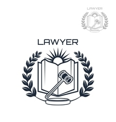 Lawyer emblem of wreath book and gavel vector
