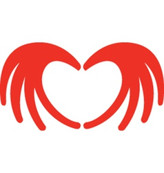 Heart from hands vector image