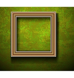 Empty picture frame on grunge wall vector
