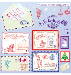Collection of christmas envelops postcards stamps vector