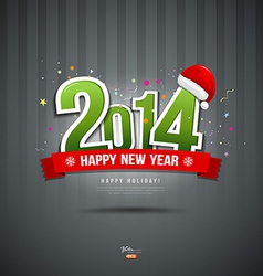 Happy new year 2014 message text paper design vector