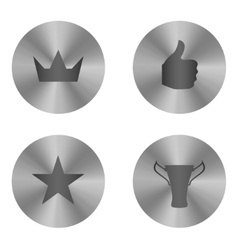 Silver insignia icon set vector