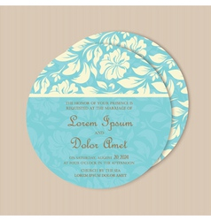 Round wedding card blue vector