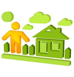 3d house icon vector image vector image