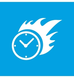 Hot clock white icon vector