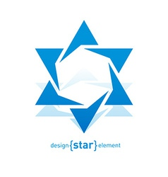 Abstract design element blue david star vector