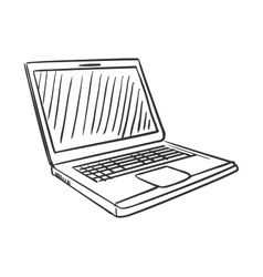 Hand draw doodle laptop vector