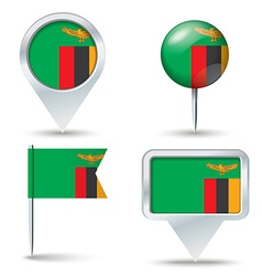 Map pins with flag of zambia vector